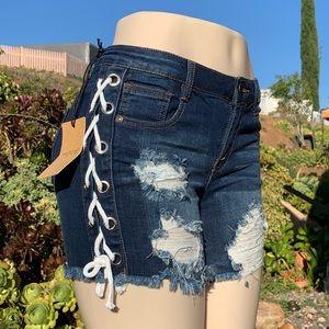 Machine distressed denim shorts lace up sides NEW!